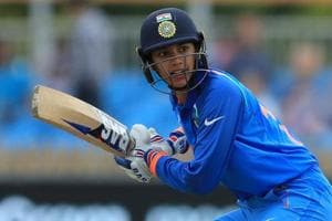 DERBY, ENGLAND - JUNE 24: Smriti Mandhana of India bats during the England v India group stage match at the ICC Women