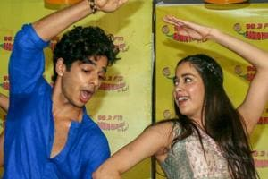 Bollywood actors Janhvi Kapoor and Ishaan Khattar during the promotion of their film Dhadak, in Mumbai.