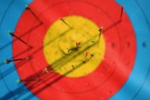 A detail view of arrows in the target at seen during a training session at the Sambodromo Olympic Archery venue on August 2, 2016 in Rio de Janeiro, Brazil.