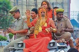 Godeb Baba in Ghaziabad on Monday, during the last leg of Kanwar Yatra.