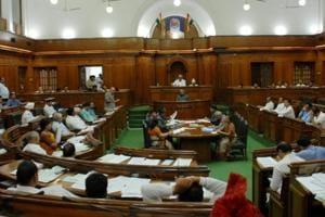 Delhi's deputy chief minister Manish Sisodia speaks in the Delhi Assembly on Monday, August 6 ,2018 .