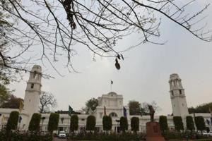 """A file photo of  Delhi Vidhan Sabha.  On the first day of the  monsoon session, the  AAP legislators demanded creating a public service commission for Delhi citing """"repeated refusal"""" of bureaucrats to cooperate with the political executive."""