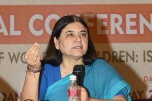 Union minister for Women and Child Development Maneka Gandhi addresses a conference in New Delhi.