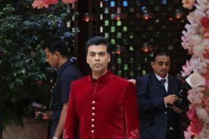 Karan Johar during engagement of Akash Ambani and Shloka Mehta at Antilia in Mumbai on June 28.