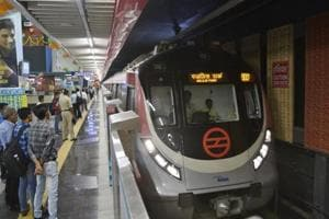 Commuters at Delhi Metro's South Extension station on Monday, August 6, 2018. The station is a part of the newly opened Durgabai Deskhmukh South Campus-Lajpat Nagar section of the Pink Line.