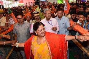 Chief minister Vasundhara Raje meets people in Banswara.