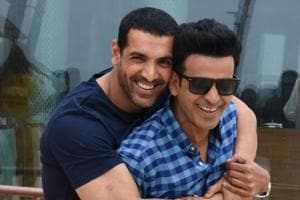 The boys, John Abraham and Manoj Bajpayee, are having loads of fun.