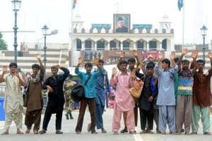 The released Pakistani fishermen at the Attari-Wagah border in Amritsar on Tuesday