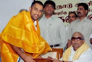 DMK chief M Karunanidhi is seen with cricketer MS Dhoni. Karunanidhi passed away on Tuesday, Aug 7, 2018, after a prolonged illness, at a Chennai hospital where he was admitted for some days.