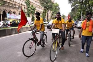 Maratha community members rode bicycles, as part of Sadbhavna Rally, from Malegaon to Mumbai, to pay tribute to those who died during the protests.