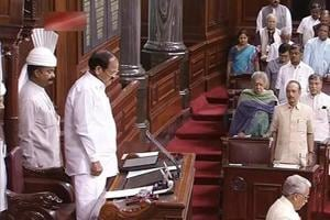 Rajya Sabha chairman M Venkaiah Naidu and the members observe a silence during an obituary reference in the House, in Parliament on July 18.