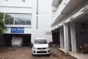 The sealed campus of Muzaffarpur short stay home where girls were alleged sexually abused. On the left is the office and printing press of prime accused Brajesh Thakur's Hindi paper.
