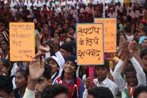 Students taking part in a meeting and welcoming Madhya Pradesh chief minister Shivraj Singh Chouhan during his Jan Ashirvad Yatra in Seoni district on August 7