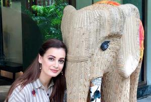 Bolloywood actor Dia Mirza with an elephant installation created by artists Brinda Miller and Bandana Jain for the Gaj Mahotsav in Delhi.