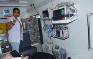 An advanced life support ambulance at the Panchkula civil hospital. A mini intensive care unit, it has almost every facility — ventilator, defibrillator, BP monitor and suction machine — to stabilise a critically ill patient or accident victim while on the way to hospital. Unlike in Chandigarh, it caters to the whole district, not just VVIPs.