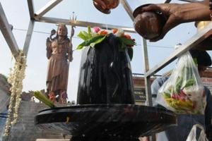 A Shivlinga was found desecrated in a temple in village Hasanpur in Shamli district on Wednesday following which devotees held protests over the incident, police said.