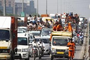 The Delhi-Gurgaon expressway in Gurugram witnessed heavy congestion on Wednesday evening, as Kanwariyas passing through the city hampered vehicular movement from 4 pm onwards.