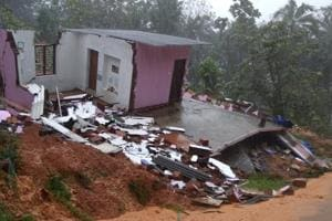 A house destroyed by heavy rains and landslide in Kerala