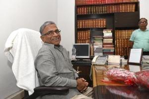 Newly-elected Deputy Chairman of the Rajya Sabha Harivansh Narayan Singh at his office in New Delhi.