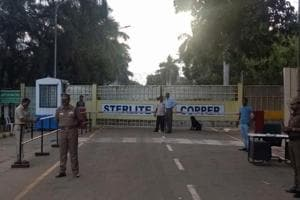 Police stand guard outside a copper smelter controlled by London-listed Vedanta Resources in Thoothukudi in the southern state of Tamil Nadu.
