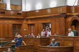 Delhi deputy chief minister Manish Sisodia speaks in the State Assembly on the second day of its Monsoon session, in New Delhi on Tuesday, Aug 7, 2018.