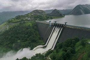 A view of the Idukki Dam as water level continued to rise in Kerala on Friday.