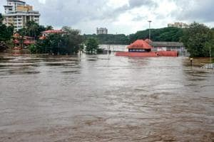 Aluva Mahadeva Temple submerged in rainwater water after a flash flood, triggered by heavy rains, in Kochi .