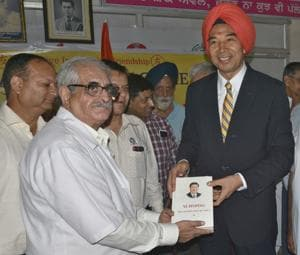 Chinese Ambassador to India Luo Yuhai Luo Zhaohui at the Dr Kotnis Acupuncture Hospital in Ludhiana on Friday.