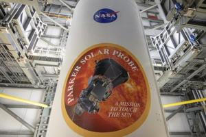 In this image provided by NASA, the United Launch Alliance Delta IV Heavy rocket payload fairing is seen with the NASA and Parker Solar Probe emblems on August 8, 2018, at Cape Canaveral Air Force Station, Florida. Parker Solar Probe will travel through the sun