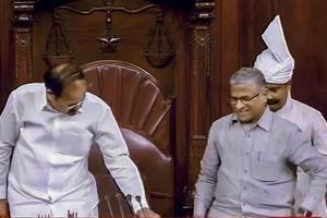 Rajya Sabha Chairperson M Venkaiah Naidu greets newly-elected RS Deputy Chairperson Harivansh Narayan Singh during the Monsoon session of Parliament, New Delhi,  August 9