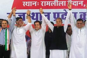 Congress president Rahul Gandhi with Rajasthan unit president Sachin Pilot and former chief minister Ashok Gehlot at the Ramlila grounds in Jaipur on Saturday.