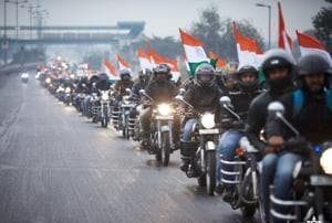 Members of Royal Mavericks group participate in the Nation Salute Ride.