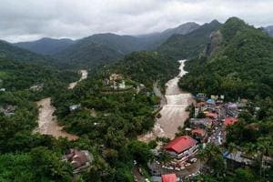 An aerial view of the flood-hit areas of the state of Kerala on Saturday.