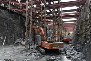 Metro-3 work in progress in south Mumbai.