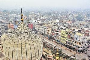 A view of Old Delhi and Chandni Chowk from Jama Masjid.