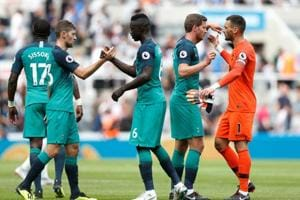 Tottenham players celebrate after the match against Newcastle United.