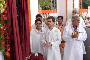Congress president Rahul Gandhi at the unveiling of the newly constructed Rajiv Gandhi Bhawan in Raipur, Chhattisgarh on August 10, 2018.
