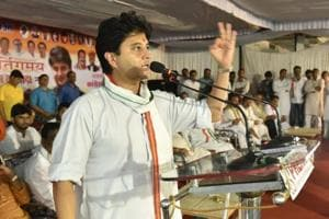 "Madhya Pradesh Congress election campaign committee head Jyotiraditya Scindia addressing party workers in Hoshangabad in July  2018.  Scindia on Saturday highlighted the state Bharatiya Janata Party (BJP) government's ""betrayal"" of farmers at a well-attended meeting in Ratlam, around 300 km from Bhopal."