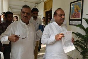 BJP MLAs Vijender Gupta and OP Sharma at the Vidhan Sabha in New Delhi recently.