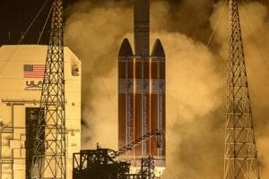 The Parker Solar Probe blasts off from launch complex 37 at Cape Canaveral Air Force Station in Florida, on Sunday.