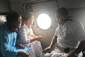 Home minister Rajnath Singh conducting an aerial-survey of flood-affected areas in Kerala.