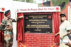 Defence Minister Nirmala Sitharaman inaugurating Hussainiwala bridge in Ferozepur on Sunday.