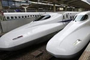 The high-speed Japanese bullet trains, known as the Shinkansen, at Tokyo station. The trains are capable of hitting top speeds of 320-350 km per hour.