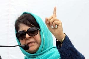 Mehbooba Mufti attends a public rally on the 19th Foundation Day of PDP, in Jammu.