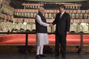 Prime Minister Narendra Modi and Chinese president Xi Jinping visit an exhibition at  theHubei Provincial Museum, in Wuhan, China on April 27, 2018 ahead of their informal summit.