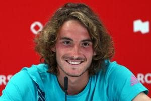 Stefanos Tsitsipas of Greece speaks to the media following his semi final victory over Kevin Anderson of South Africa on Day 6 of the Rogers Cup on August 11, 2018 in Toronto, Canada.