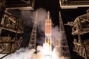 This handout photo released by NASA shows the United Launch Alliance Delta IV Heavy rocket with the Parker Solar Probe onboard during its launch on August 12, 2018, Launch Complex 37 at Cape Canaveral Air Force Station in Florida.