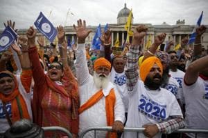 Pro-Khalistan supporters at Trafalgar Square in London at an event organised by Sikhs for Justice.