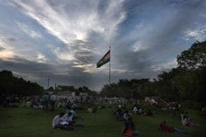 A view of cloudy weather in the evening at Palika Bazar Park, Connaught Place, New Delhi.