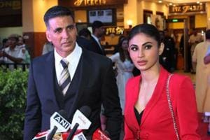 Akshay Kumar and Mouni Roy talk to the media at the promotions of their upcoming film Gold in New Delhi on August 12, 2018.